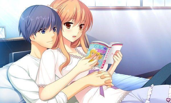 lecture en amoureux ^^ (fond d'écran manga)